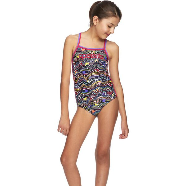 GIRLS MULTI LINES SIERRA ONE PIECE, Colour All Sorts, hi-res