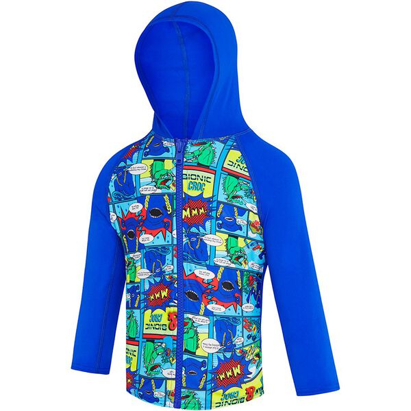 TODDLER BOYS SPEEDO COMIC HOODED LONG SLEEVE RASHIE, Beautiful Blue/Speedo Comic, hi-res
