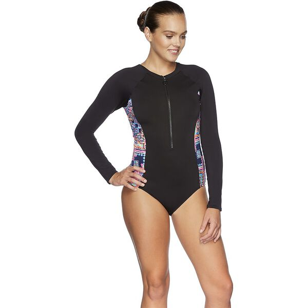 WOMENS SPEEDO ECO FABRIC PADDLE SUIT, BLK/MEDAL, hi-res