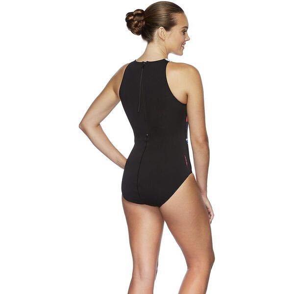 WOMENS FEATHERS TURBO SUIT ONE PIECE, UNDERWATER SUNRISE/BLK, hi-res