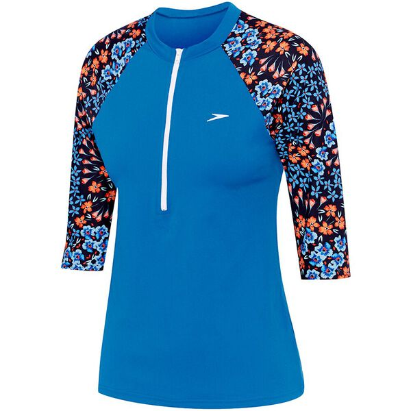 WOMENS END+ HALF ZIP 3/4 SLEEVE RASHIE