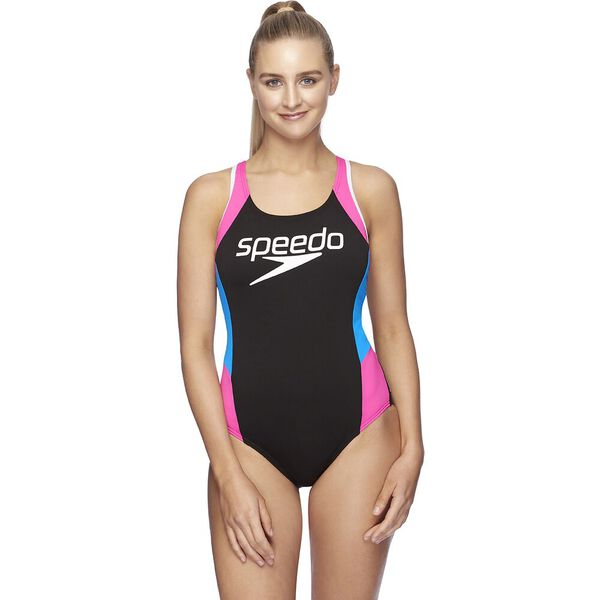Womens Block Muscleback One Piece, Black/Neon Pink/Amalfi/Wht, hi-res
