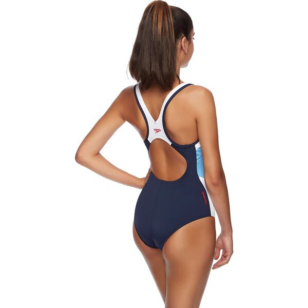WOMENS BLOCK MUSCLEBACK ONE PIECE, SPEEDO NAVY/WHITE/BLUEBELL, hi-res