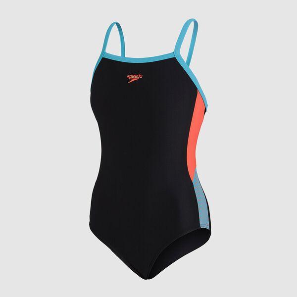 Girls Dive Thinstrap Muscleback, Black/Hypersonic Blue/Volcanic Orange, hi-res