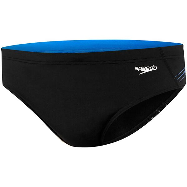 MENS TRAX 10CM BRIEF, Black/Rush Reflective Cadet Blue, hi-res