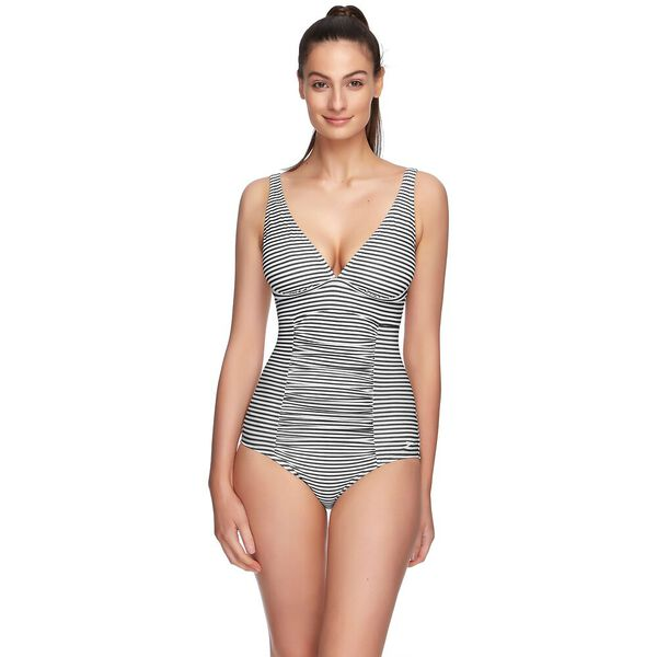 WOMENS BELT SHAPE ONE PIECE, MARINE STRIPE, hi-res