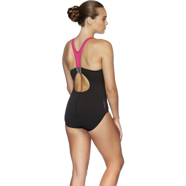 WOMENS IMAGE UPLIFT ONE PIECE, BLK/FAN/MRL LIN/E PNK, hi-res