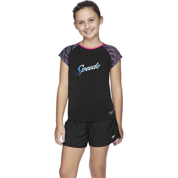Girls Logo Cap Sleeve Sun Top, Black/Neon Night, hi-res