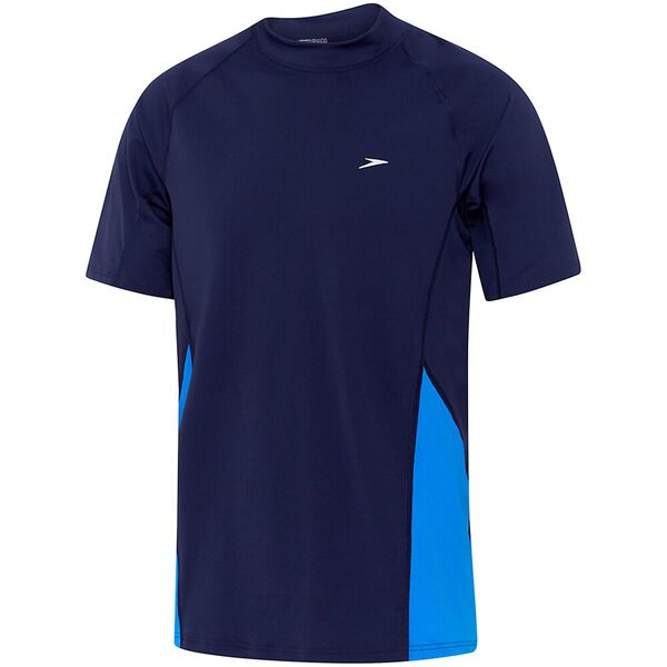MENS FLOW REG SHORT SLEEVE RASHIE, Speedo Navy/Cadet Blue, hi-res