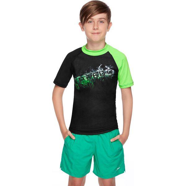 BOYS DISSECT SHORT SLEEVE SUN TOP, Black/Cascade/Brasil Green, hi-res