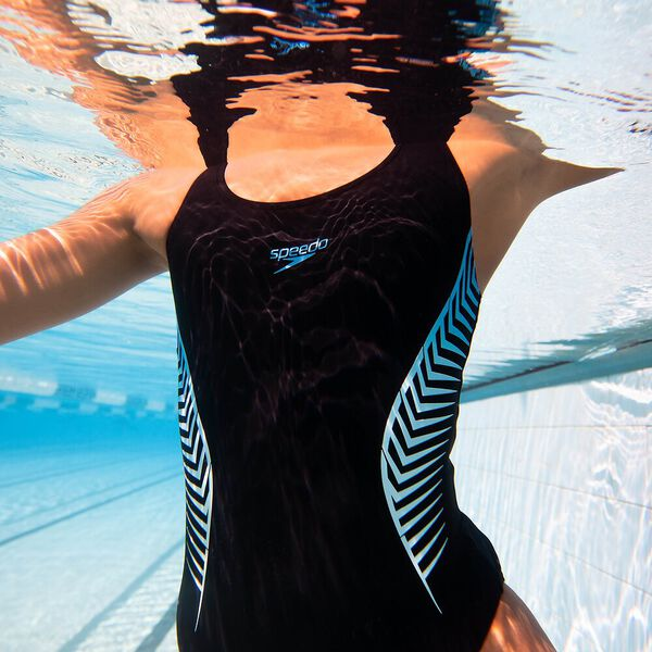 Womens Placement Muscleback 1Pc, Black/Blue Flame/Light Adriatic, hi-res