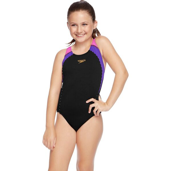 GIRLS SPORT IMAGE ONE PIECE, Black/Orchid/Music, hi-res