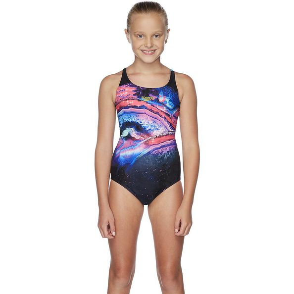 GIRLS RETRO WINGS CROSSBACK ONE PIECE, Sapphire Glow, hi-res