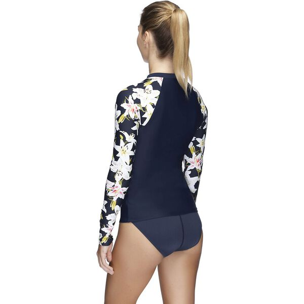 Womens Endurance 10 Zip Up Long Sleeve Sun Top, Lily/Speedo Navy, hi-res