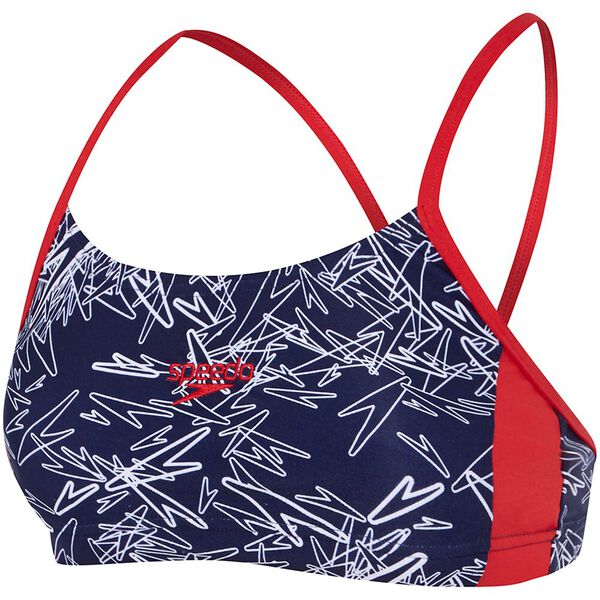 WOMENS BOOM CROP TOP, BOOM/SPEEDO NAVY/WHITE, hi-res