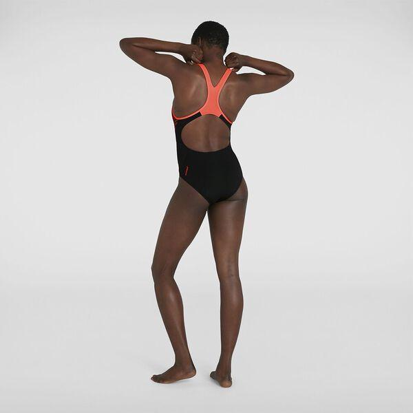 Womens Placement Laneback, Black/Fluo Tangerine, hi-res