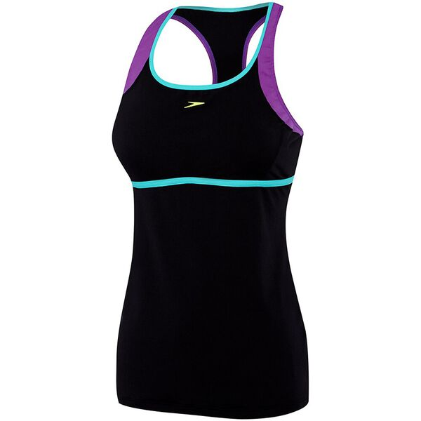 WOMENS D/DD CROSS TRAINER POWER TANK, BLACK/MUSIC/INCA, hi-res