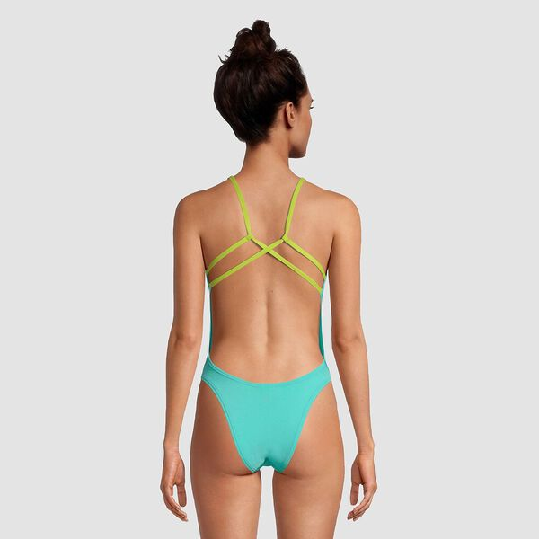 Womens Solid Strappy Fixed Back One Piece, Turquoise, hi-res