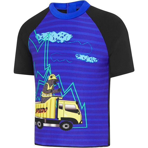 TODDLER BOYS TRUCKER BEAR SHORT SLEEVE SUN TOP, Black/Trucker Bear, hi-res