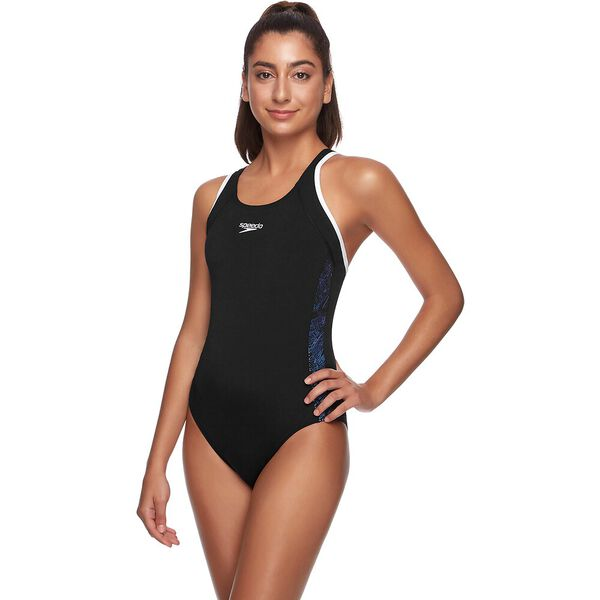 WOMENS BOOM MUSCLEBACK ONE PIECE, BOOM/BLACK/IRIDESCENT, hi-res