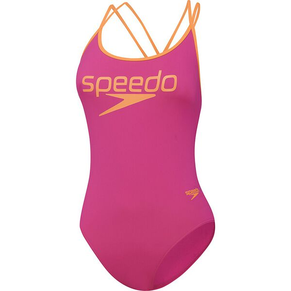Womens Squad Crossback High Leg One Piece, Neon Pink/Funray, hi-res