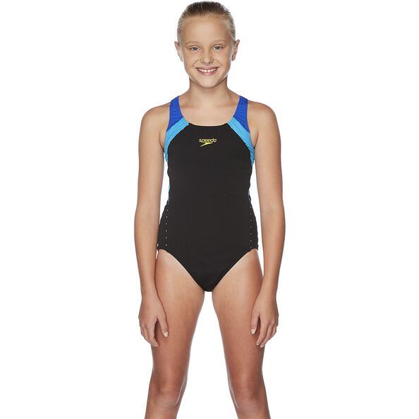 GIRLS SPORT IMAGE ONE PIECE, Black/Beautiful Blue/Pacific, hi-res
