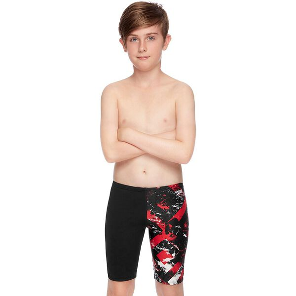 BOYS SCHOOL COLOURS JAMMER, Black/Sport Red Wave, hi-res