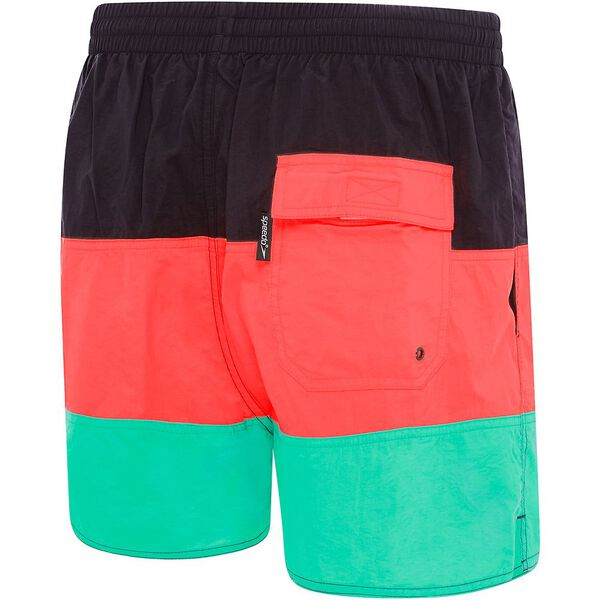 MENS PANEL SOLID LEISURE SHORT, Carbon/Siren Red/Tile, hi-res