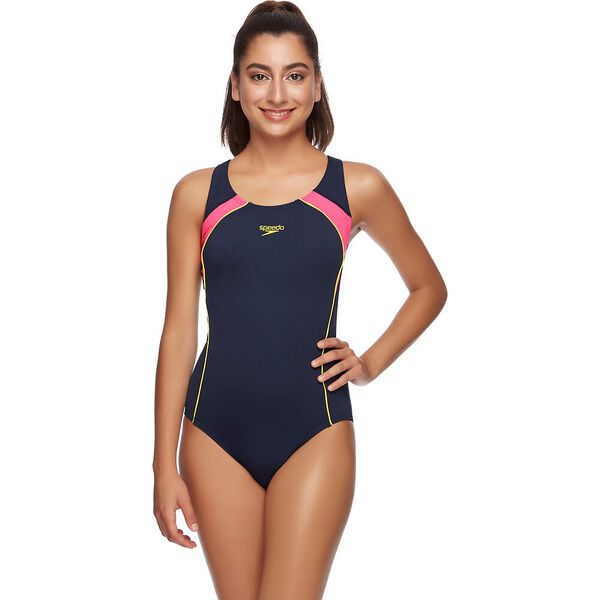 WOMENS IMAGE UPLIFT ONE PIECE, SPEEDO NAVY/AZALIA, hi-res