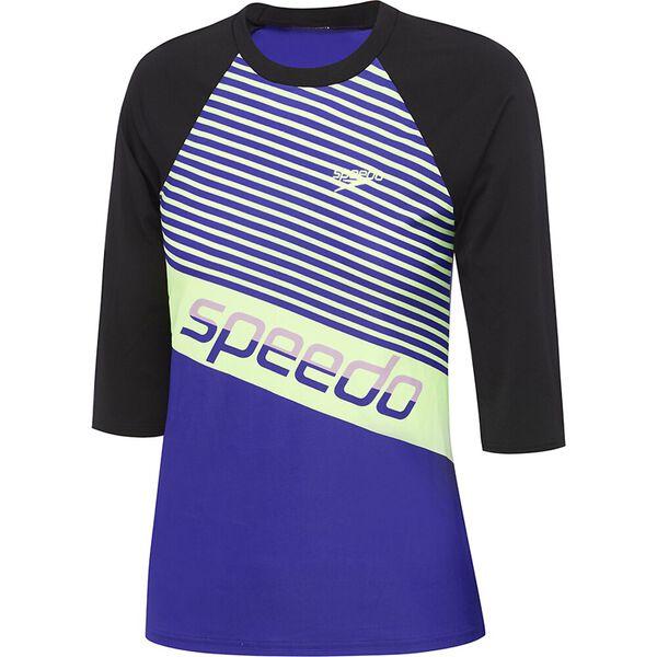 Womens Endurance+ 3/4 Sleeve Rashie, Black/Geo Slice/Trick, hi-res