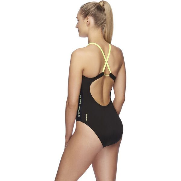 Womens Superiority High Leg Loopback One Piece, Black/Zest, hi-res