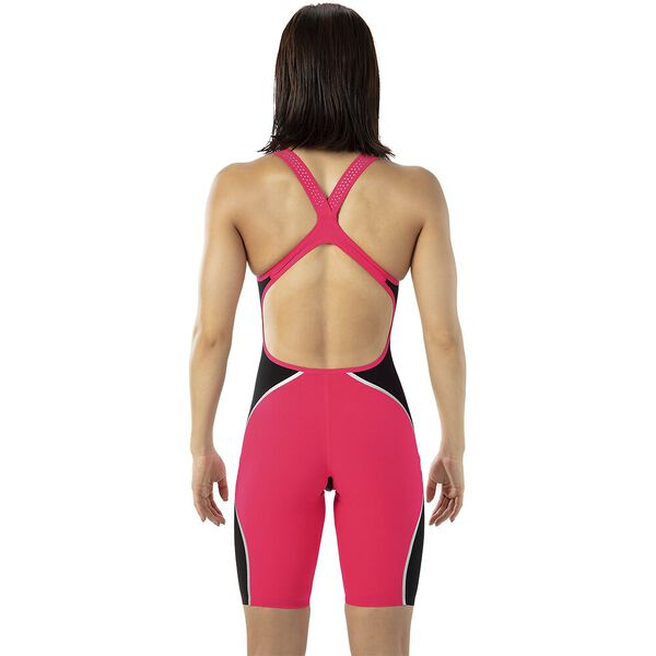 WOMENS LZR INTENT OPENBACK KNEESKIN, RED/BLK/SLV, hi-res