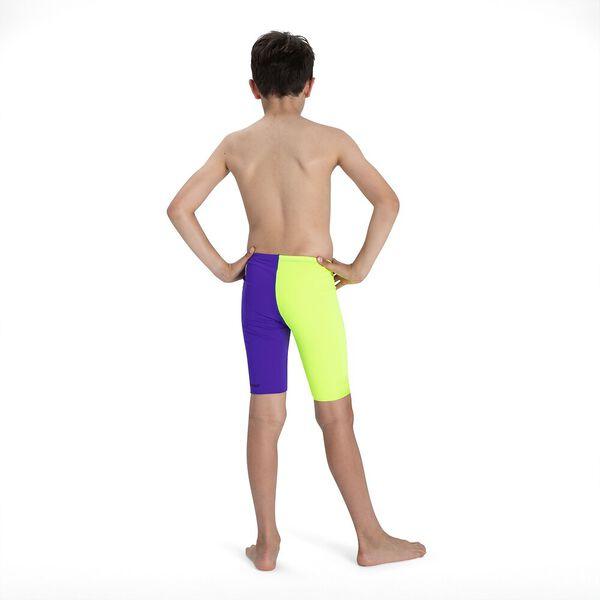 Junior Boys Fastskin Endurance+ High Waisted Jammer, Violet/Fluo Yellow, hi-res