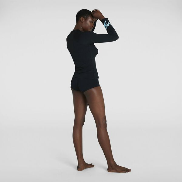 Womens Boom Logo Placement Long Sleeve Rash Top, Black/Light Adriatic, hi-res