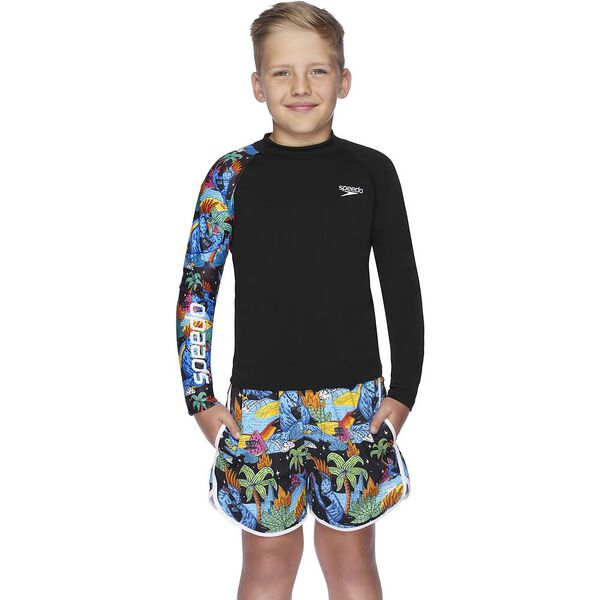 Boys Dissect Long Sleeve Sun Top, Black/Riley, hi-res
