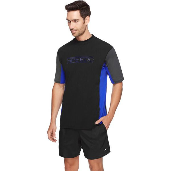 MENS MOTION RELAXED SHORT SLEEVE RASHIE, Black/Speed /Soot, hi-res