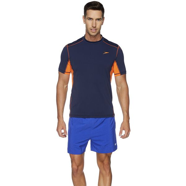 MENS TECH SHORT SLEEVE SUN TOP, Speedo Navy/Tang, hi-res