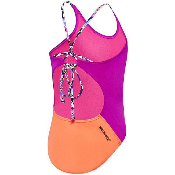 GIRLS TIE ONE PIECE, Fluro Magenta/Siren Red/Optical Star, hi-res