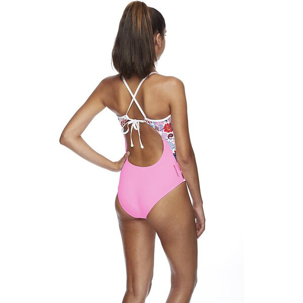 WOMENS TIE BACK HIGH LEG ONE PIECE, ARCADIA, hi-res