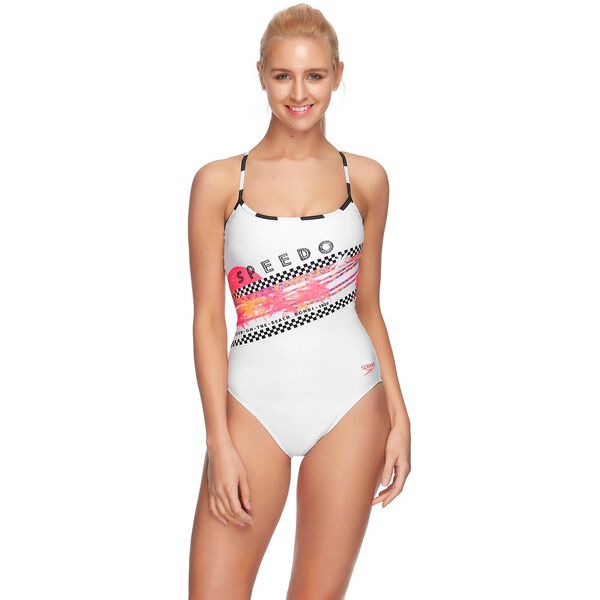 WOMENS TIE BACK HIGH LEG ONE PIECE, IDENTITY/WHITE, hi-res