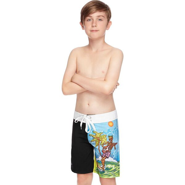 BOYS SURF GEETAR BOARDSHORT, Black/Surf Geetar, hi-res