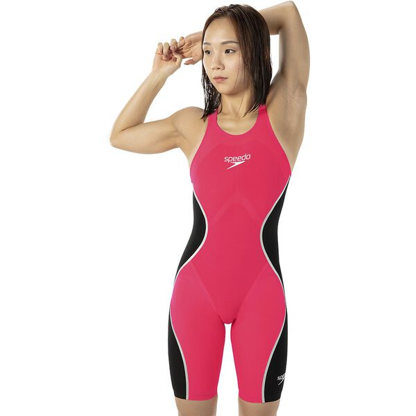 WOMENS LZR INTENT CLOSEDBACK KNEESKIN, RED/BLK/SLV, hi-res
