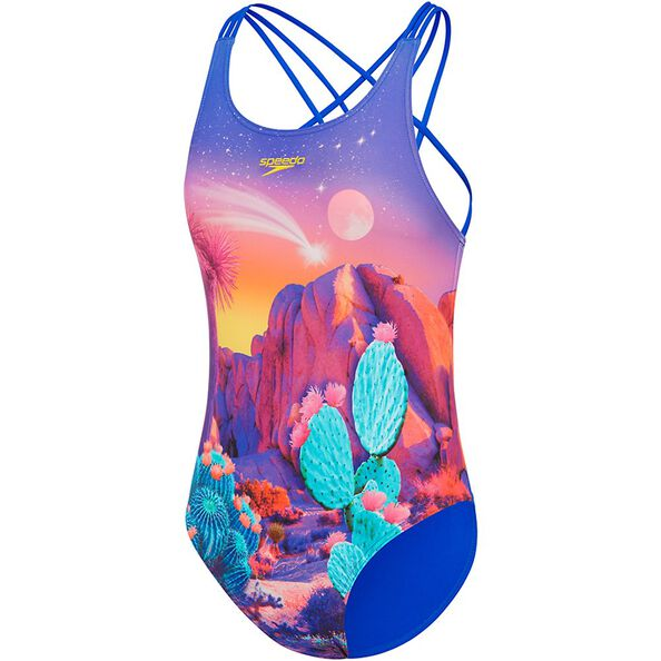 GIRLS GIRLY FUN TRIPLE CROSSBACK ONE PIECE, Cactus Desert, hi-res
