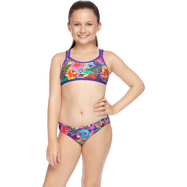 GIRLS DOUBLE CROSSBACK CROP SET, Primitive Flower, hi-res