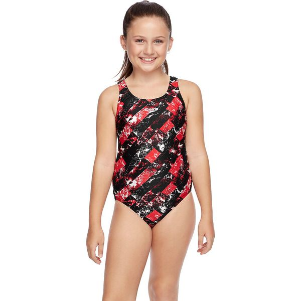 GIRLS SCHOOL COLOURS LEADERBACK ONE PIECE, Sport Red/Wave, hi-res