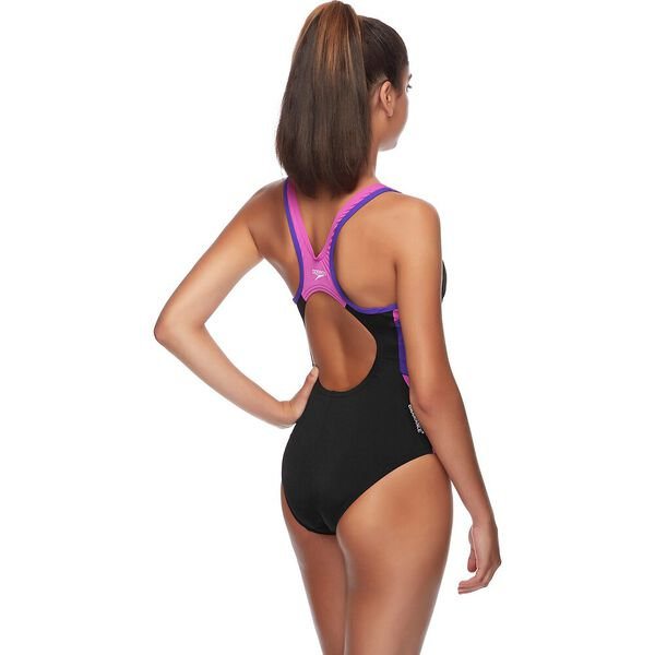 WOMENS BLOCK MUSCLEBACK ONE PIECE, BLACK/GRAPE/ORCHID, hi-res
