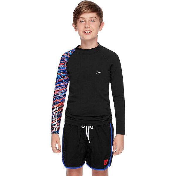 BOYS SAFETY LONG SLEEVE SUN TOP, Black/Stix, hi-res