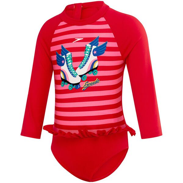 TODDLER GIRLS FLOUNCE SUN SUIT, Sport Red/Roller Skate, hi-res