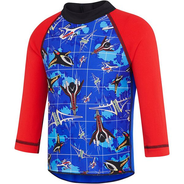 TODDLER BOYS ARCADE TYPE LONG SLEEVE SUN TOP, USA Red/Speedo Jet, hi-res