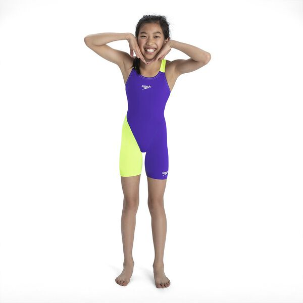 Junior Girls Fastskin Endurance+ Openback Kneeskin, Violet/Fluo Yellow, hi-res